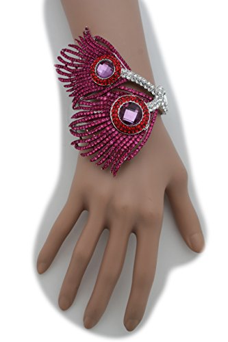 TFJ Women Fashion Jewelry Silver Metal Cuff Bracelet Wedding Bling Purple Peacock Feathers