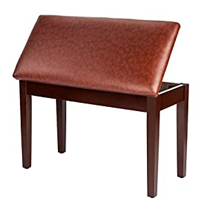 Bonnlo Wooden Piano Bench with Storage and Padded Leather Cushion