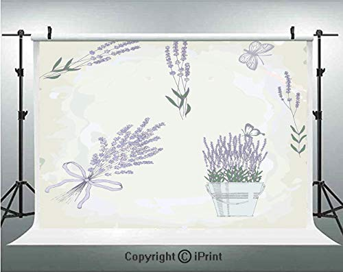 Lavender Photography Backdrops Floral Vintage Composition with Rustic Elements Butterflies Bouquets,Birthday Party Background Customized Microfiber Photo Studio Props,8x8ft,Pale Mauve Hunter Green