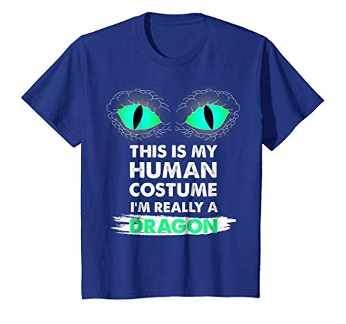 Kids This Is My Human Costume I'm Really a Dragon Halloween Shirt 6 Royal Blue -