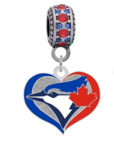 (Final Touch Gifts Toronto Blue Jays Swirl Heart Charm Fits European Style Large Hole Bead Bracelets Personality, Reflections, Silverado and More)