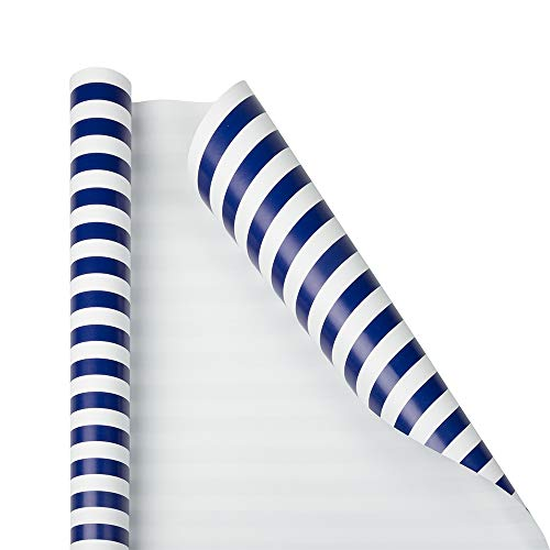 JAM PAPER Gift Wrap - Striped Wrapping Paper - 25 Sq Ft - Blue & White Stripes - Roll Sold Individually