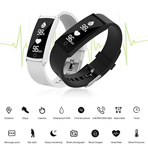 Glumes Bluetooth Smart Watch with heart Blood Pressure Test Heart Rate Monitor Touchscreen Wrist Watch Unlocked Waterproof Smart Watch for Android Samsung IOS Iphone Plus Men Women (White) by Glumes (Image #3)