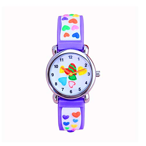 Price comparison product image Eleoption Waterproof Kids Watches for Kid Girls Boys Toddlers Watch 3D Cute Cartoon Silicone Wristwatches Time Teacher Gift for Little Kids Boys Girls Children Birthday Gift (Hearts-Colorful&Purple)