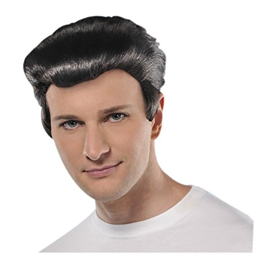 [Amscan Fabulous '50s Costume Party Greaser Synthetic Fiber Wig (1 Piece), One Size, Black] (Black Men Halloween Costume)