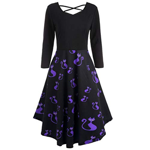 UOFOCO Halloween Print Flare Dress for Women Long Sleeve Dress Hollow Party Casual Dresses
