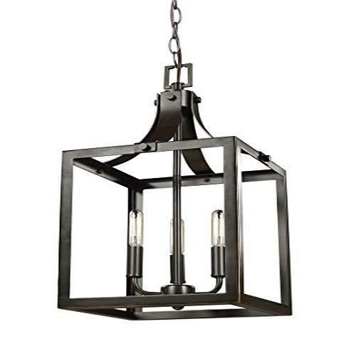 - Sea Gull Lighting 5140603-782 Labette Small Three-Light Hall / Foyer Hanging Modern Light Fixture, Heirloom Bronze Finish