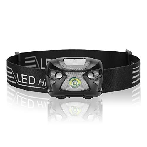 Ryaco USB oplaadbare led-hoofdlamp, waterdicht, lichtgewicht, mini-hoofdlampen, 8 lichtmodi, sensorwaarschuwing, rood…