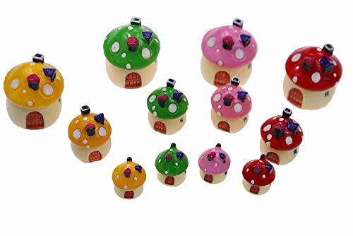MUZHI 12PCS-Pack Dollhouses Fairy Garden Miniature Mushrooms Decor Castles, Durable Resin House-Shaped Mini Landscape Decorative Accesseries 4colors