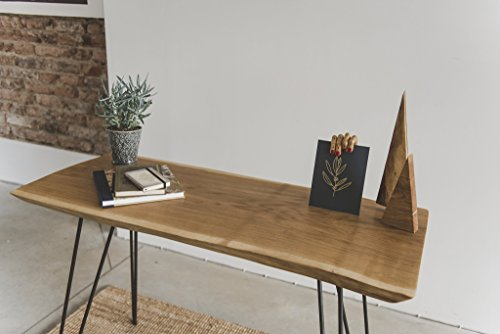 Oak Rustic Table. Laptop Desk. Perfect for a Bedroom Furniture as a Night Table. Wooden Side Table. Live Edge Top with Steel Legs. Great Gift for Christmas, Father's Day. ()