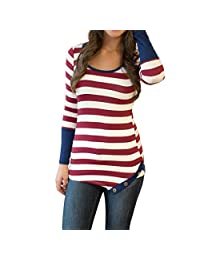 DaySeventh Women Stripes Stitching Long-sleeved Shirt Tops Blouse