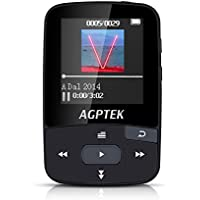 AGPTEK A50 8GB Clip Sport Bluetooth MP3 Player with 1.5-inch TFT Display, Support up to 64GB, Lossless Sound Portable Music Player with FM Radio, Record,Black