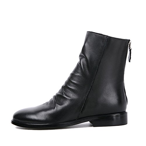 Women's Slouchy Low Block Heel Ankle Boots Back Zipper Ladies Leather Casual Short Booties (12, Black Cow Leather)