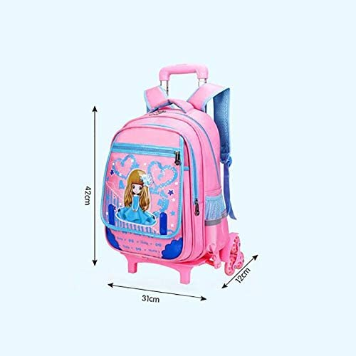 Color : Two Rounds of Pink Ly-lgb Pupils Trolley Bag Boys and Girls Childrens Detachable Hand Strap Shoulder Bag