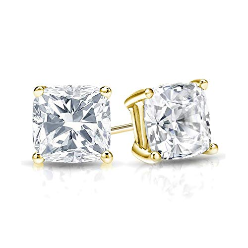 bbamjewelry Certified 4-Prong Basket Cushion Cut Real Moissanite Stud Earrings In Solid 14K Yellow Gold