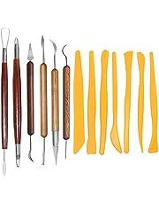 SENHAI Pottery Clay Sculpting Tools, 6Pcs Wooden Handle Pottery Carving Tools & 7Pcs Plastic Clay Shaping Tools, for Pottery Sculpture Ceramic Clay Indentation Trimming Cutting