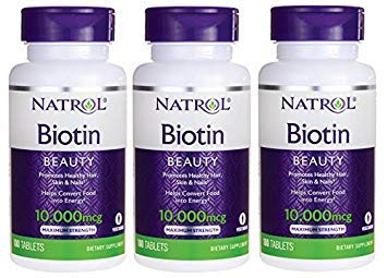 Natrol Biotin, Maximum Strength, 10,000 Mcg Tablets 100 Ea (Pack of 3)