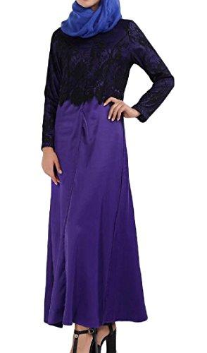 Confortables Manches Longues Ajustement Musulman Abaya Flexibles Femmes Robes De Dinde Violet