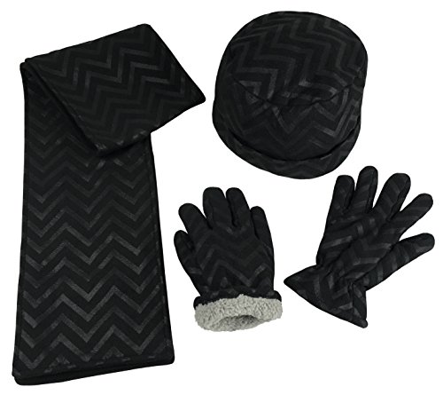 N'Ice Caps Boys Sherpa Lined Micro Fleece 4 Tassle Hat/Scarf/Glove 3PC Set (Teens, Black (Sherpa Lined Flap Hat)
