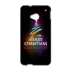 Best Custom Merry Christmas Pattern HTC One M7 (Laser Technology) Plastic and TPU Case, Cell Phone Cover