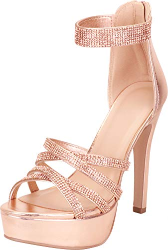 Cambridge Select Women's Open Toe Ankle Strappy Crystal Rhinestone Chunky Platform High Heel Dress Sandal,8 B(M) US,Dark Penny PU