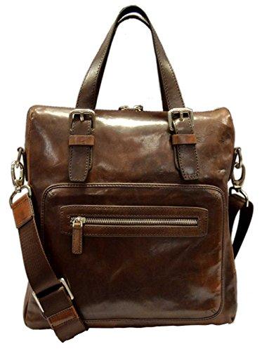 Leather notebook bag satchel messenger men ladies bag handbag dark brown shoulder bag made in Italy bag crossbody carry on tablet ipad bag by ItalianHandbags