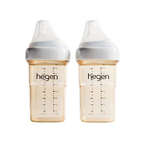 Hegen Baby Bottle- Anti-Colic Wide Neck PPSU Feeding Bottle-Multi Functional Breastfeeding System 5 oz and 8 oz- Single or 2 Pack (8oz (2 PK))