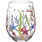 V-More Stemless Wine Glass Hand-Painted Starfish and Aqua Plants Decorated with Colorful Rhinestones for Gift Entertaining 18 oz (Set of 1)