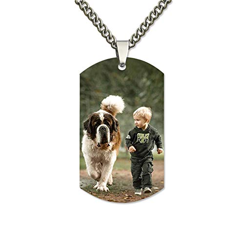 (XXI0c2sd2s Personalized Photo Engraved Stainless Steel Necklace Tags Dog Tag Pendant Memorial)