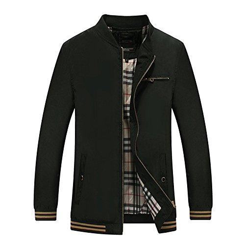 THWS Uomini giacca di sovrarivestimento autunno bassa, di mezza età uomini Mock-collo puro vestiti a colori e in bianco e nero, M