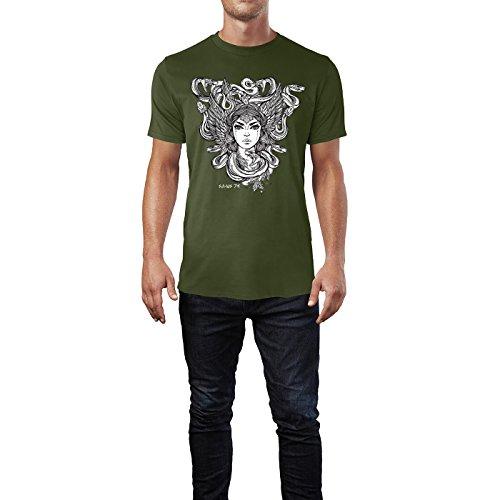 SINUS ART® Frau mit Schlangenkopf und Flügeln Herren T-Shirts in Armee Grün Fun Shirt mit tollen Aufdruck