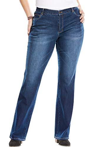 Woman Within Women's Plus Size Bootcut Stretch Jean - Indigo, 18 W (Womans Size 18 Jeans)