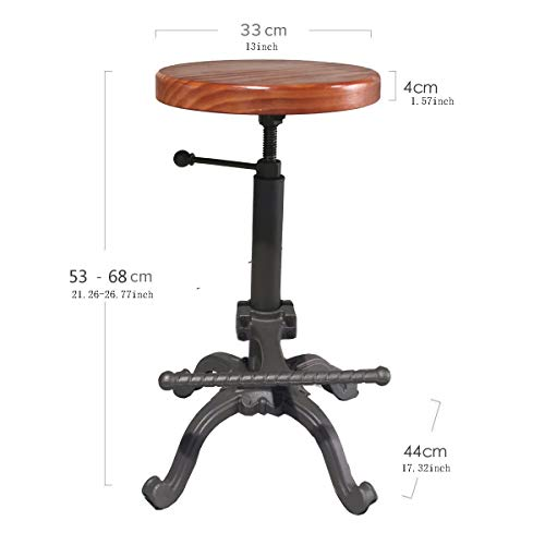 Topower Industrial Retro Vintage Farm Wooden Tractor Stool Kitchen Swivel Height Adjustable bar Stool (Dark Brown)