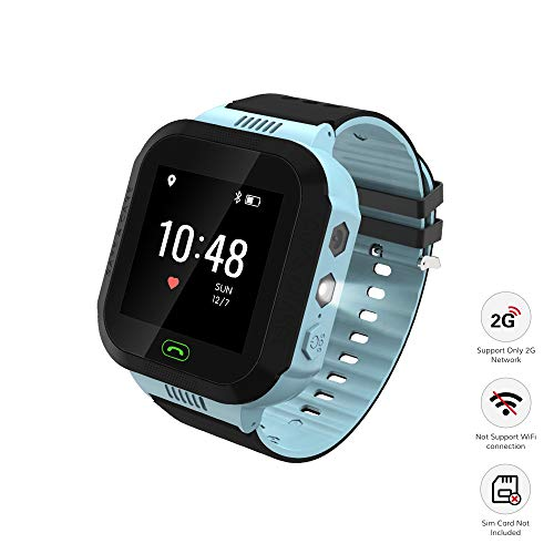 Wonbo Kid Smart Watch, Soft Silicone GPS Tracker with SIM Slot SOS Call Camera Touch Screen Real-time Location Finder Anti-Lost Alarm Remote Remove Alert for Boys Girls (Black&Blue)