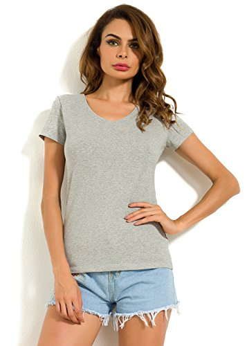 Cotton Armoire (MSHING Women's Soft Cotton Tops V Neck Short Sleeve Casual Basic T Shirts)