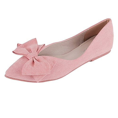 Meeshine Women's Comfortable Bow Point Toe Flat Pumps Slip On Shoes Pink-05