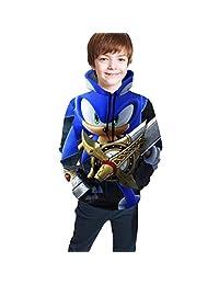 Children's Hoodies Sonic-The Hedg-Ehog 3D Print Unisex Pullover Hooded Sweatshirts for Boys/Girls/Teen/Kid's