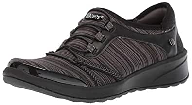Bzees Women's Ginger Sneaker, Black/Grey Linear, 5 M US