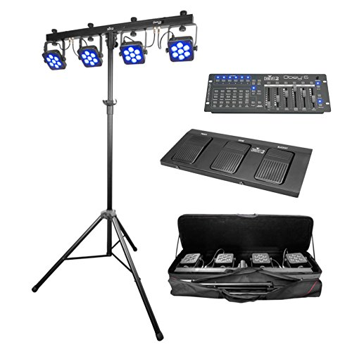 Package: Chauvet DJ 4BAR TRI USB LED Wash FX Light Fixture With Stand, D-Fi USB + Chauvet DJ Obey 6 Compact Universal 6 Channel DMX DJ MIDI FX Controller