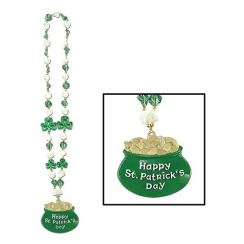 Patty O'green Costume (Shamrock Beads w/Pot-O-Gold Medallion Party Accessory (1 count) (1/Card))