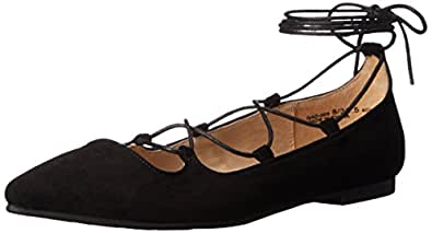 Chinese Laundry Women's Endless Summer Ghillie Flat, Black Suede,  5 M US