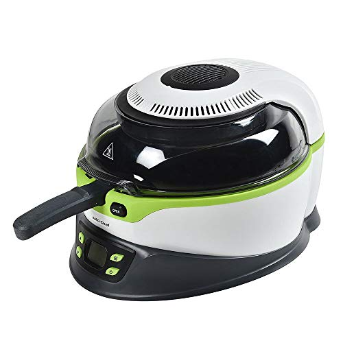 AKG Chef Air Fryer, Oil Less Healthy Multi-Cooker with Stir, Programmable LCD Display, Parts Diswasher Safe, White/Green