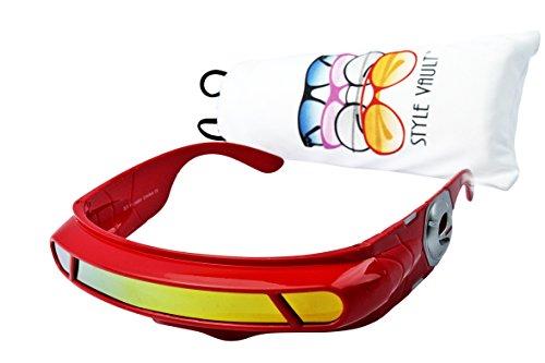 V138-vp Robocop Robot Censored Party Sunglasses (B3293F Red-gold - Shades Cyclops