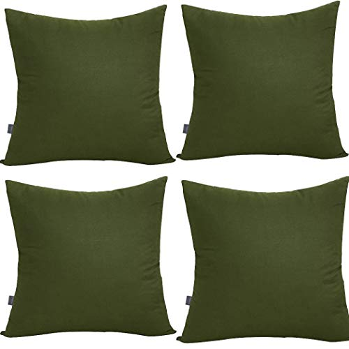 4-Pack 100% Cotton Comfortable Solid Decorative Throw Pillow Case Square Cushion Cover Pillowcase 17.7 x 17.7 Inches (Olive Green)