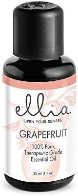 Ellia, Grapefruit Aromatherapy Essential Oil, 30mL (1 fl oz) 100% Pure, Therapeutic-Grade Grapefruit (Citrus Paradisi) Essential Oil, Sweet & Citrusy Scent, Motivating & Clarifying Properties