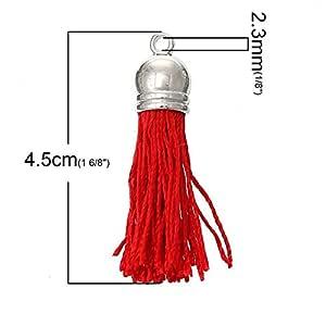 JPONLINE 30 unidades/bolsa al azar borlas mixtas con tapas de metal DIY accesorios para joyería prendas 4,5 cm x 1 cm