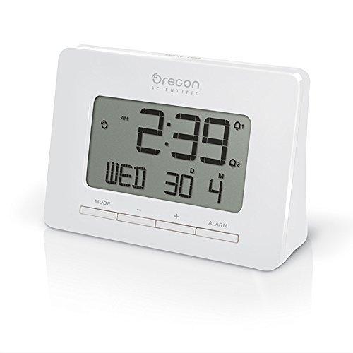 Nature Bird Oregon Scientific Stylish Retro Minimalist Design Macaron Color Radio-Controlled Alarm Atomic Clock-White