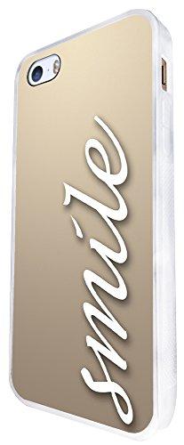 297 - Shabby Chic Cool Smile Design iphone SE - 2016 Coque Fashion Trend Case Coque Protection Cover plastique et métal - Blanc