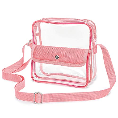 (iSPECLE Clear Bag for Women, Clear Purse Approved for NFL, PGA, NCAA, Adjustable 59.1 inch Shoulder Strap for Girl, Pink)