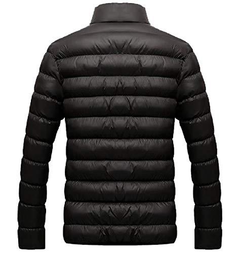 Collare Cappotto up Zip Invernale Nero Fit Stanno Addensare Regular Rkbaoye Mens Lungo tqRv77